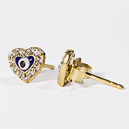 24K Gold Overlay Heart Shaped Evil Eye Earrings w/ Cubic Zirconia 8mm, Made In - Zirconia Eyes Cubic
