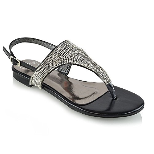 Essex Glam Women's Flat Toe Post Rhinestone Slingback Black Metallic Holiday Sandals 7 B(M) US