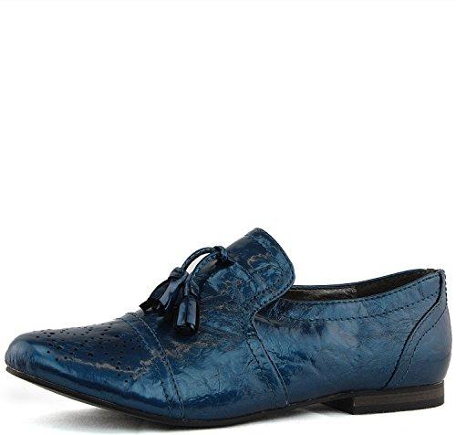 Kvinnor Breckelles Klassiska Tillfälliga Klänning Oxfords Låga Lägenheter Häl Snörning Sneaker Mode Skor Blå