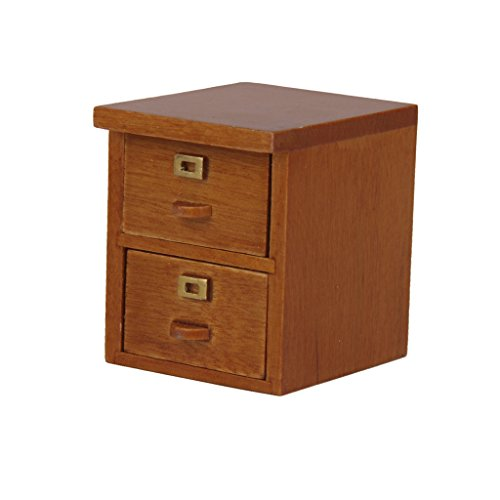 MagiDeal 1/12 Dollhouse Miniature Office Furniture 2 Drawer Filing Cabinet in Walnut Wood