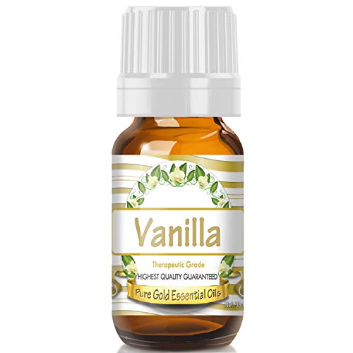 Vanilla Essential Oil (100% Pure, Natural, UNDILUTED) 10ml - Best Therapeutic Grade - Perfect for Your Aromatherapy Diffuser, Relaxation, More!