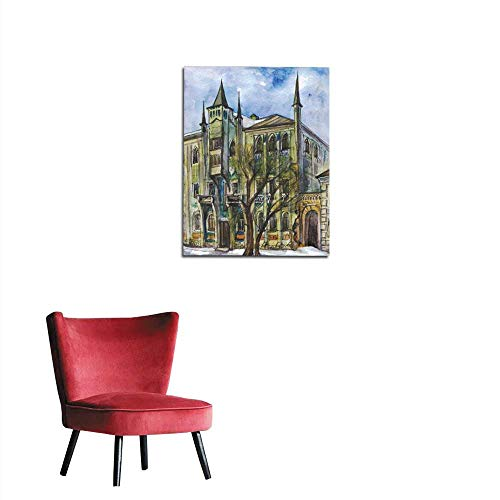 longbuyer Home Decor Wall Mansion in The Gothic Style Watercolor Painting Mural -