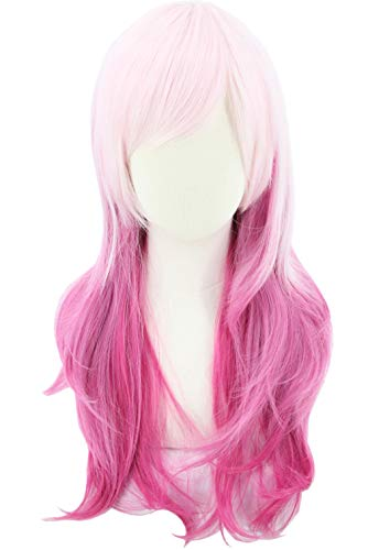 Jem Halloween Costume (Topcosplay Women and Girls Wig Pink Red Gradient Long Wavy Anime Cosplay Lolita Wig Halloween Costume)