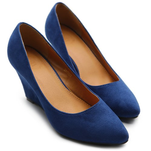 Pump Suede Women's Closed Faux Toe Platform Shoe Color Party Wedge Multi Blue Royal Ollio P1Ydw1