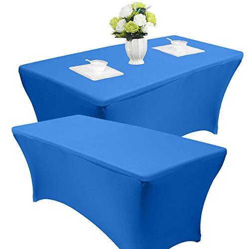 Reliancer 2 Pack 4\6\8FT Rectangular Spandex Table Cover Four-Way Tight Fitted Stretch Tablecloth Table Cloth for Outdoor Party DJ Tradeshows Banquet Vendors Weddings Celebrations(2PC 6FT, Blue)]()