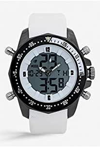 Mon Grandeur Mens Analog Digital Watch Strap Material Polyurethene with White Color and Dial color Black and White GR-GF12181-Black White
