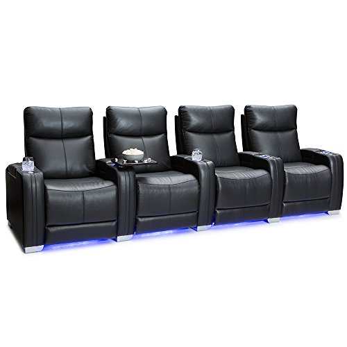 Cheap SEATCRAFT Solstice Leather Home Theater Seating with Power Lumbar, Recline, and Headrest (Row of 4, Black)