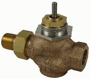 """Schneider Electric VB-7211-0-4-04 Series Vb-7000 Two-Way Globe Valve Body, Union Straight Pipe End Connection, Stem Up Open, Brass Plug, 1/2"""" Port Size"""