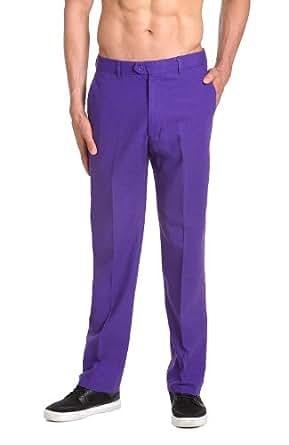 CONCITOR LINEN Men's Dress Pants Trousers Flat Front Slacks PURPLE INDIGO 36