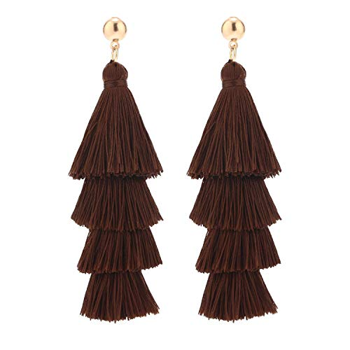 BaubleStar Fashion Gold Tassel Dangle Earrings Layered Long Bonita Tiered Chocolate Brown Thread Tassel Drop Statement Jewelry for Women Girls B054CH