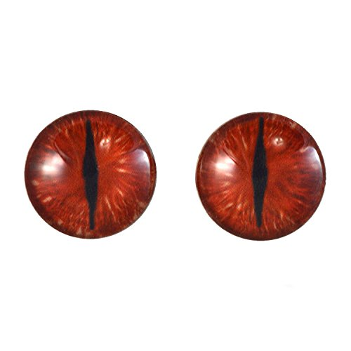 20mm Red Dragon Glass Eyes Fantasy Taxidermy Art Doll Making or Jewelry Crafts Set of 2 -