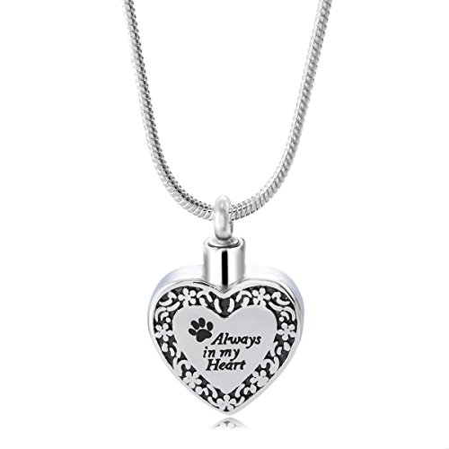 GIONO Pet Memorial Urn Necklace Dog Cat Paw