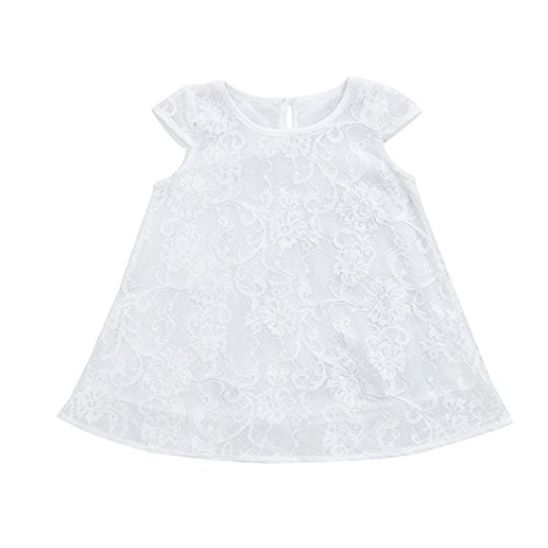 Jarsh Summer Kids Baby Girl Dress, White Lace Flower Hollow Short Sleeve Beach Party Casual Dresses (24M(18-24Month))