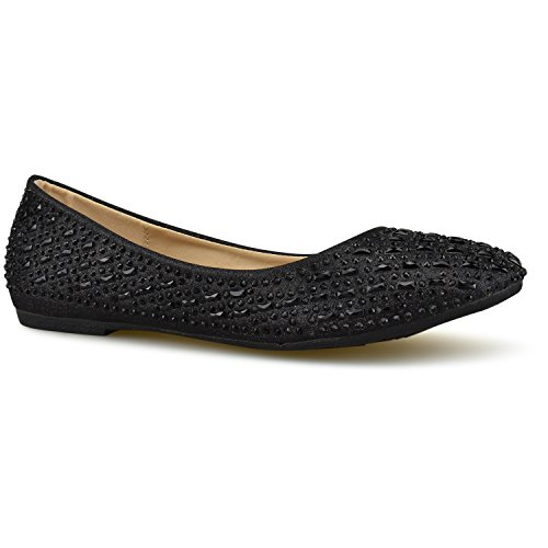 Closed Toe Classic Flats Premier Black Walking Standard Ballet Ballerina E Slip Women's Suede Pointy Comfortable Toe On qFFvIwA7