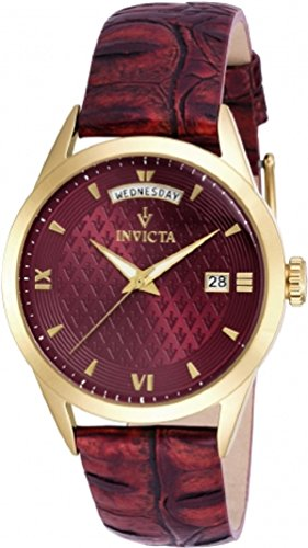 Invicta Women's 'Vintage' Quartz Stainless Steel and Leather Casual Watch, Color:Red (Model: 18472)