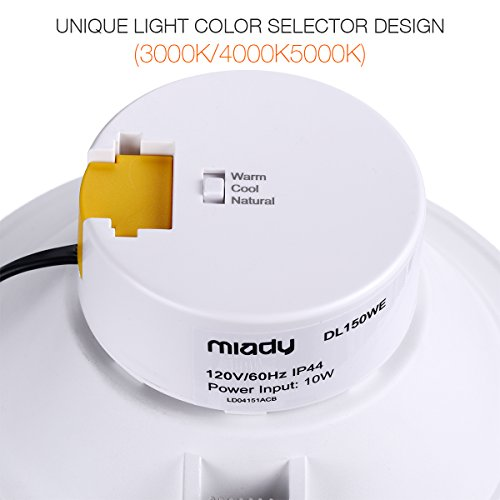 6'' LED Recessed Light with J-Box Adjustable Color Temp 10W Non-Dimmable LED Downlight for 100W Replacement, 1100 Lumens, 3000K/4000K/5000K, AC Power Plug, IC-Rated and Air Tight - Pack of 4 by Miady (Image #2)