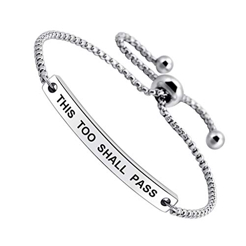 SOUSYOKYOSAM Inspirational This Too Shall Pass Engraved Positive Mantra Message Thin Bangle Bracelet (This Too Shall Come To Pass Quote)
