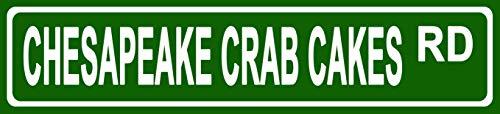 (Makoroni - Chesapeake Crab Cakes Foods Novelty Street Sign Aluminum Metal 4x18 inc)