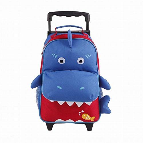 Yodo Kids Lunch Box per bambino, con borsa per trasporto, Preshool Zainetto trolley per bambini, con imbracatura e guinzaglio di sicurezza, impermeabile, rivestimento interno Shark (Suitcase)