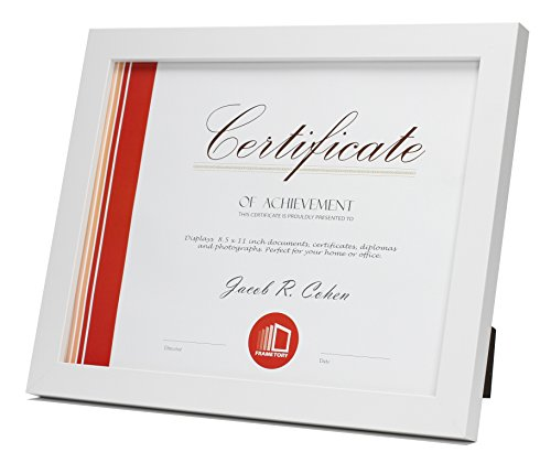 Frametory, Document / Diploma Table-Top Frame for 8.5x11 Picture & Real Glass (White) by Frametory (Image #1)