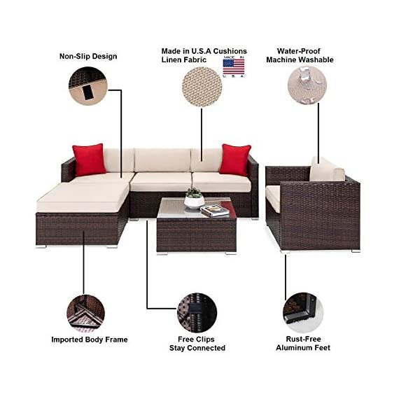OAKVILLE FURNITURE 61106 6-Piece Outdoor Patio Furniture Rattan Sectional Sofa Conversation Set Brown Wicker, Beige Cushion - Proudly Made in U. S. A. Cushions and imported body frame with 1-year us based Manufacture . Outdoor FURNITURE set features four patio sofa chairs, ottoman and coffee Table with modular design. Easily reconfigurable to various layouts and enough room to seat 4-5 adults comfortably. - patio-furniture, patio, conversation-sets - 413q6e5KoBL. SS570  -