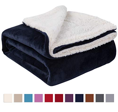 Nanpiper Sherpa Blanket Twin Thick Warm Blanket for Winter Bed Super Soft Fuzzy Flannel Fleece/Wool Like Reversible Velvet Plush Blanket (Navy Blue Twin Size 60