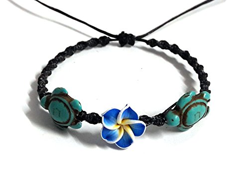 LAVIP Leather Bracelet Hawaiian Plumeria Flower Sea Turtle Turquoise Bracelet Turtle Hemp - Bracelet Plumeria Hawaiian