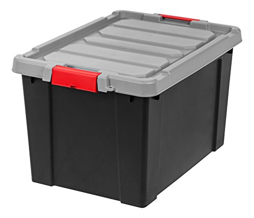 IRIS 19 Gallon Store-it-All Heavy Duty Stackable Utility Tote, Black with Red Buckle (Tote Roughneck Storage)