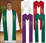 Alpha Omega Wheat Priest/Clergy Overlay Stole (Purple)