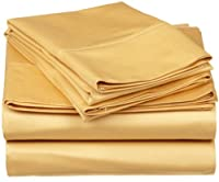 530 Thread Count, 100% Premium Combed Cotton, Single Ply, California King 4-Piece Sheet Set, Solid, Gold