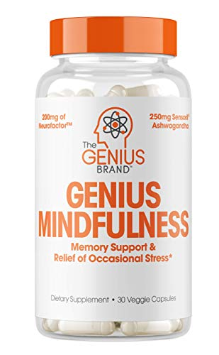 Genius Mindfulness – Stress & Anxiety Relief Supplement – Nootropic Brain Booster & Memory Support | Natural Focus, Energy & Serotonin, Calm Adrenal Fatigue w/Ashwagandha -30 Capsules/Pills…