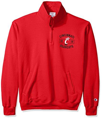 Champion NCAA Cincinnati Bearcats Men's Power Blend Fleece Quarter-Zip Jacket, X-Large, Scarlet