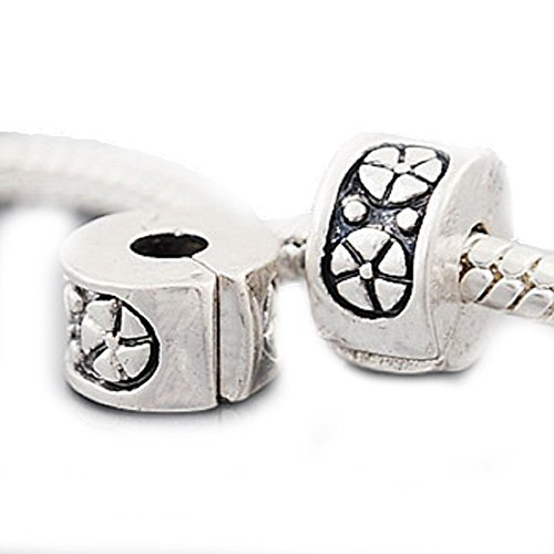 (2) Antique Silver Tone Wheels Clip Lock Stopper Bead Charms. Compatible With Troll, Biagi, Zable, Chamilia Charm Bracelets. ()