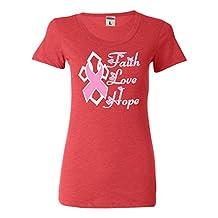 Womens Faith Love Hope Breast Cancer Awareness Tri-Blend T-shirt