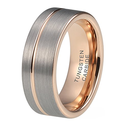 iTungsten Mens Rose Gold Tungsten Wedding Bands Womens Engagement Rings 8mm Offset Line Silver Matte Top Comfort Fit