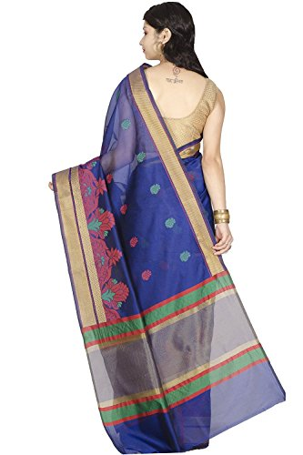 Chandrakala-Womens-Banarasi-Cotton-Silk-Saree-Free-Size-Blue