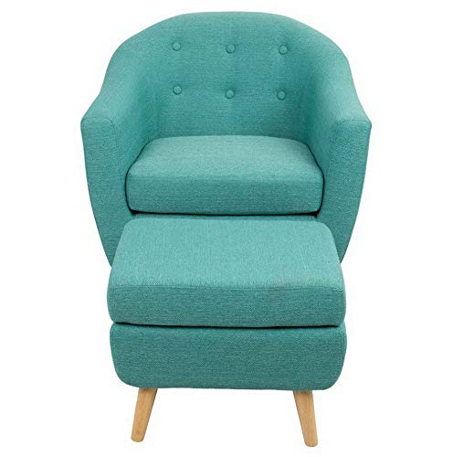 Amazon.com: Hebel Rockwell Mid-Century Modern Chair with Ottoman | Model CCNTCHR - 392 |: Kitchen & Dining