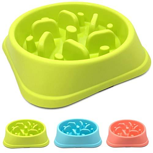 - Slow Feed Dog Bowl,Bloat Stop Dog Puzzle Maze Bowl,Dog Food Water Bowl Pet Interactive Fun Feeder Slow Bowl SkidStop Design Anti-Gulping Fat Preventing Choking (Green, Tornado)