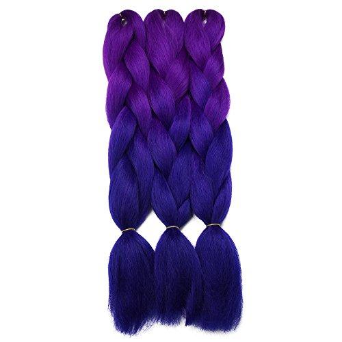 Synthetic Yaki Straight Ombre Jumbo Braiding Hair Extensions High Temperature Fiber Crochet Braids Hairstyles (Purple Blue) ()