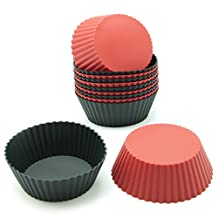 Freshware CB-304RB 12-Pack Silicone Mini Round Reusable Cupcake and Muffin Baking Cup, Black and Red Colors