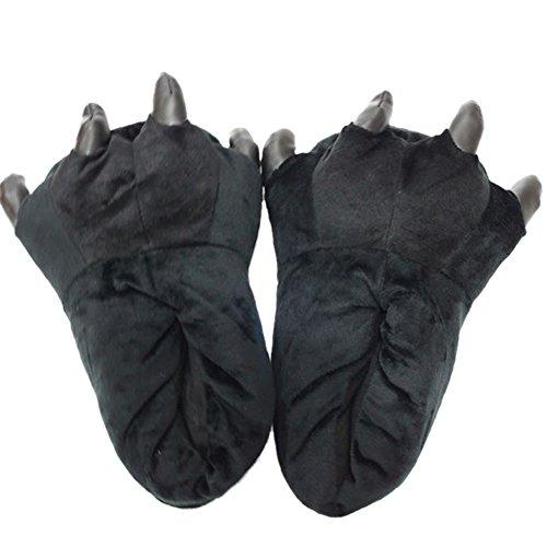 Zapatos Animal-LATH.PIN- Zapatillas de Felpa Unixeso para Halloween Carnaval Cosplay La Pata de Las Garras Negro