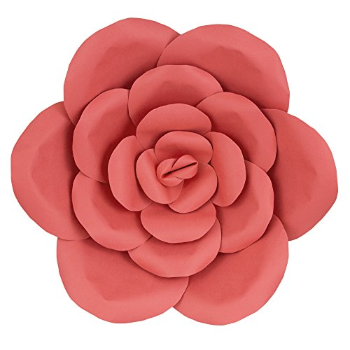 "Mega Crafts 16"" Handmade Paper Flower in Coral 