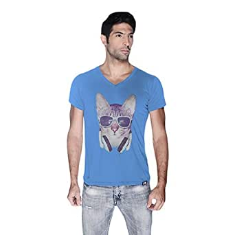 Cero Cool Cat Retro T-Shirt For Men - S, Blue