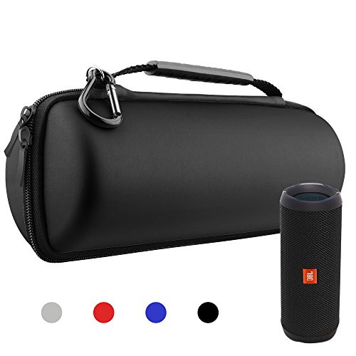 Hanlesi Case for JBL Flip 4 and Flip 3, Waterproof Carrying Accessories Case Wireless Bluetooth Speaker Travel Bag for Flip4/Flip3 Case Black