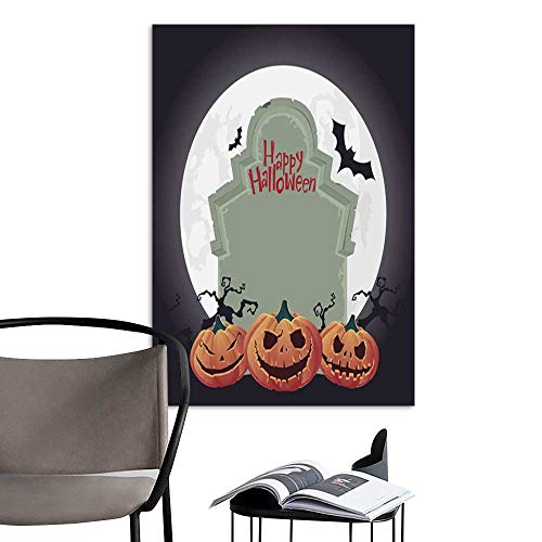 UHOO Linen Art Prints PicturesCreepy Tombstone and Scary Halloween Pumpkin Vector.jpg Wall Art for Bedroom Living Room 16