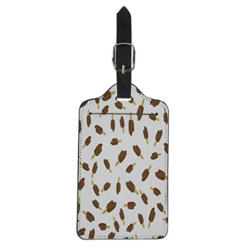 Pinbeam Luggage Tag Cute Ice Cream Pattern Eskimo Brown Chokolate Girly Suitcase Baggage -