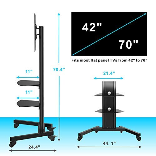 Fenge Carts Rolling for 42 to 70 Inch Screen Monitor Black TT211201MB