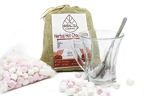Herbal Hot Chocolate With Walnut Shells Black and FREE Glass Cup Gift Set -