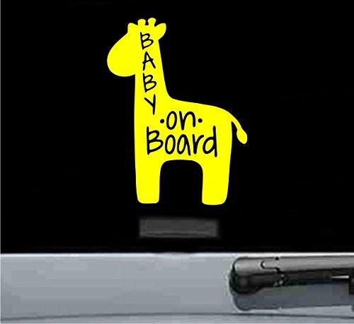 JS Artworks Baby on Board Giraffe Vinyl Decal Sticker (Yellow)]()