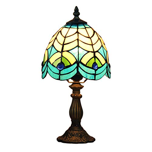 Tiffany Peacock Feather Table Lamp - Makenier Vintage Tiffany Style Stained Glass Bedroom Bedside Corner Table Desk Peacock Feather Small Lamp, 6.7 Inches Lampshade